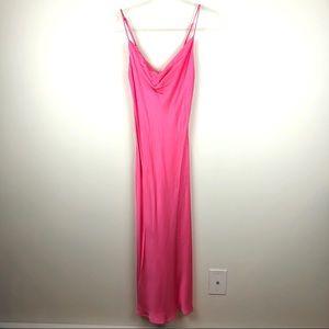 Zara Bright Pink Maxi Slinky Dress XS Prom Formal